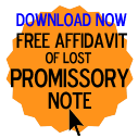 Free Affidavit of Lost Promissory Note