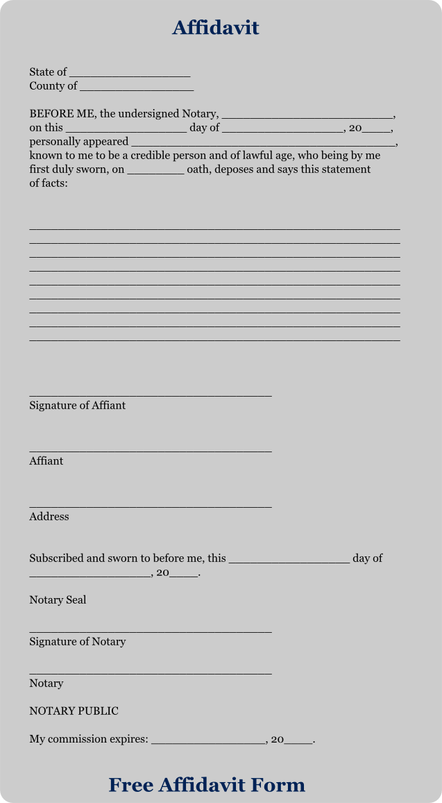 Download Free Affidavit Forms Free Affidavit Form – Free Affidavit Form Download