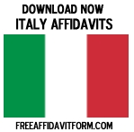 Free Italy Affidavit Form